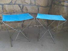 Vintage Champion Camp Stools Metal Folding Chair With Cloth Seat Set of 2 France
