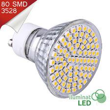 Bombilla LED GU10 80 SMD 3528 Blanco Cálido 220V - Únicamente 6W.