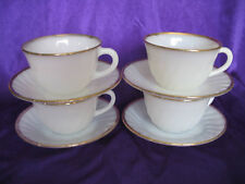 4 Fire King Anniversary Swirl Cups & Saucers EXCELLENT Lot C