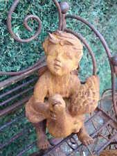 statue , posture , en fonte d un garçon avec son canard ou oie assis   ...