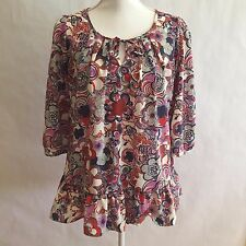Liberty Of London For Target Womens Top size S 3/4 Sleeve Boho Peasant Peplum