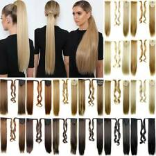 Lady Long Clip In Wrap On Ponytail Hair Extension Hairpiece As Human Straight .