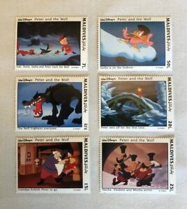 """""""PETER"""" Memorabilia - 6 Stamps featuring the story PETER AND THE WOLF - Maldives"""