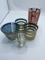 Vintage Drinking Glasses Tumblers Different Size Mid Century Mixed Lot of 5