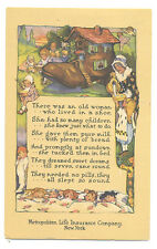 Mother Goose rhyme postcard -Metropolitan Life Insurance -There Was an Old Woman