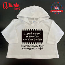 Plain Baby Hoodies-Printed-Spent 9 Months Inside-100 % Cotton-Funny Baby Clothes