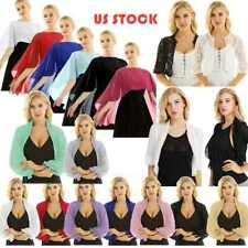 US# Womens Half Sleeve Bolero Shrug Lace PLUS Cropped Cardigan Top Sweater Cover