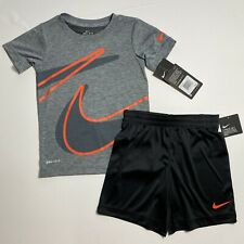 Nike Boys Dri-Fit Shorts & Tee Shirt Set Outfit Sz 4 (XS) Grey Black