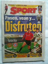 1999 Bayern Munich v Manchester United Ch Lge Final Sport Paper from day of game