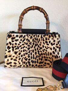 Gucci Nymphaea Leopard Print Fur Bamboo Handbag Small 2 Way Web Strap Tote