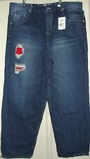 MENS 46 X 33 BIG PARISH ALL NATION DARK BLUE STONE WASH JEANS $76 patched