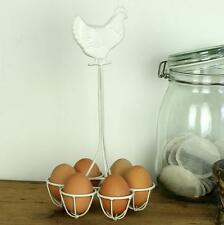 EGG STORAGE STAND BASKET EGG BOX WHITE HEN SHABBY CHIC VINAGE COUNTRY HOME METAL
