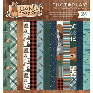 """CAMP HAPPY BEAR Collection 6"""" x 6"""" Inch Paper Pad by Photo Play CHB2113 New"""