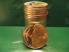 """Ronald Reagan"" 1oz .999 Copper 20 beautiful rounds 1 Roll in Plastic Tube"