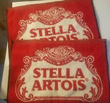 """2 Stella Artois Bar Towels Beer New Golf Red White Usa Made 16"""" x 11"""""""