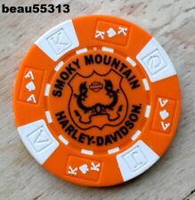 TN White Black /& Orange Poker Chip Smoky Mountain Harley Davidson Maryville