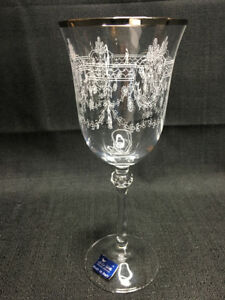 Le Stelle Crystal Silver Trim Floral Wine Glass Cristal Design made in Italy