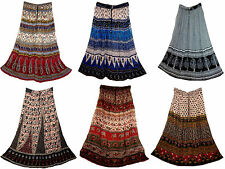 5pc INDIAN RAYON skirt gypsy retro kjol WOMEN EHS boho hippy Rock jupe rok falda