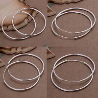Latest Women 925  Silver Plated Fashion Hoop Dangle Earring Studs Jewelry