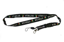 ITALIA ITALY BLACK COUNTRY FLAG LANYARD KEYCHAIN PASSHOLDER .. NEW