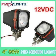 2 x 4INCH 55W SQUARE FLOOD HID XENON LIGHT DRIVING 4X4 BOAT OFFROAD JEEP 12V