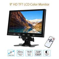 "TFT LCD 9"" CCTV Monitor PC Screen AV RCA VGA HDMI w/ Speak for DSLR Raspberry Pi"