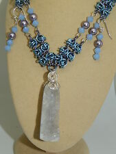 Natural Druzy Agate & Crystals Set Hand-Made Anodised Aluminium Chain Maille &
