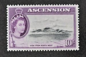 ASCENSION, QEII, 1956, 10s. black & purple value, SG 69, MM condition, Cat £55.