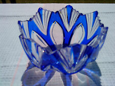 Stunning crystal bowl in cut to clear blue flash glass