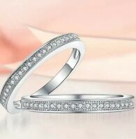 925 Sterling Silver Milgrain Eternity Engagement Ring Band with Cubic Zirconia