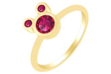 Round Shape Ruby Mickey Mouse Ring 14K Yellow Gold Over Sterling Silver