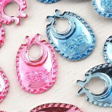 50pcs x 18mm flat back mixed lot pink/blue baby bib embellishments cardmaking