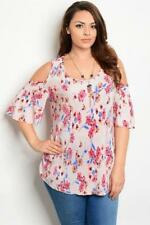 NEW..Stunning Elegant Plus Size Floral Cold Shoulder Top with Necklace..SZ18/2xl