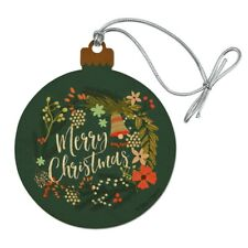 Merry Christmas Wreath Mistletoe Bell Wood Christmas Tree Holiday Ornament