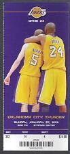2012-2013 NBA THUNDER @ LAKERS FULL UNUSED BASKETBALL TICKET KOBE - JANUARY 27