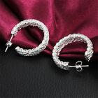 925 Sterling Silver Round Hoop Drop Dangle Earrings Womens Bridal Jewelry Gift