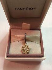 Authentic Pandora 2 Tone Lace Botanique CZ Flower Dangle Charm #791757CZ