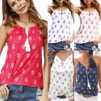 Boho Women's Sleeveless Vest Tank Tops Summer Casual Beach Blouse Loose T-shirt