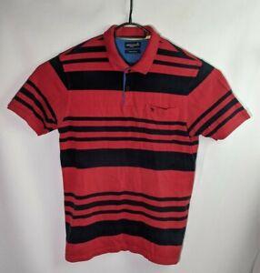 Arnold Palmer Active Men's Red Striped Short Sleeve Quarter Button Shirt - Size