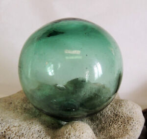 Vintage Japanese Glass FISHING FLOAT.. Rare Vibrant Emerald Green Color (#37)