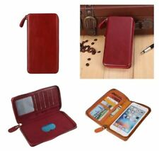 for GARMIN-ASUS NUVIFONE A50 Red Executive Wallet Pouch Case with Magnetic Fi...
