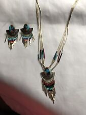 5 STRAND STERLING LIQUID SILVER MULTI STONE NECKLACE EARRINGS SET SIGNED QT