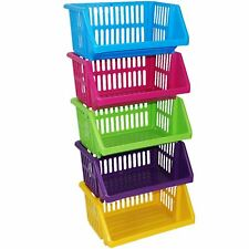 Multi Purpose Large Plastic Colour Storage Rack Stand Basket - Made in U.k. 6 Tiers Multicolour