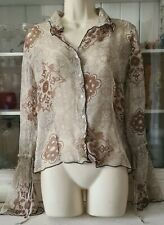 Ladies Mexx Silk Floral Long Sleeved Thin Blouse See Through Size 14