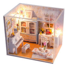 DIY Assembly Miniature Dolls House Room Wood Kit LED Christmas Birthday Gift