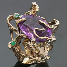 1960s Diamond Amethyst Emerald Hand-Made 14k Yellow Gold Ring