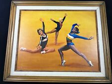 "Original Oil on Canvas Framed Vintage Gymnastics Painting Artwork 18""x22"" Barnes"
