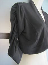 Ladies Shrug Bolero Cropped Top S 1/2 Sleeve Black Gathered Coverup Super Cute