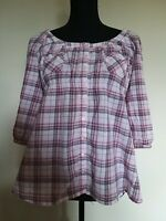 Womens Size 14 H&M Mama Pink Check Maternity Buttoned 3/4 Sleeves Blouse <LR44z