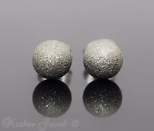 Silver Surgical Steel Round 7Mm Sand Blast Ball Mens Womens Girls Stud Earrings